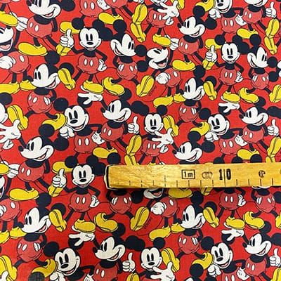 Tissu Disney mickey rouge mètre