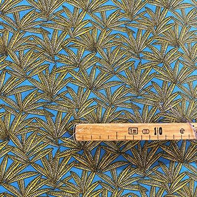 Tissu coton imprimé fenouillet bleu mètre