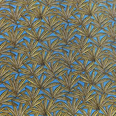 Tissu coton imprimé fenouillet mètre bleu