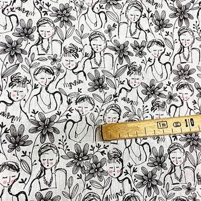 Tissu coton imprimé falbala mètre