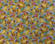 Tissu coton imprimé ginkgo moutarde