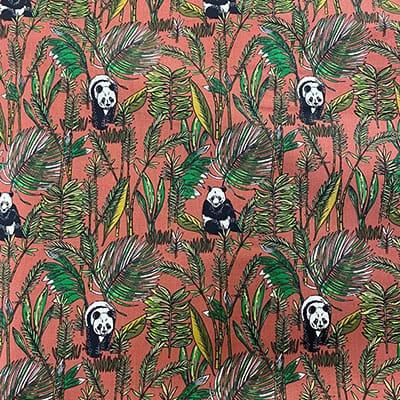 Tissu coton imprimé panda terracotta
