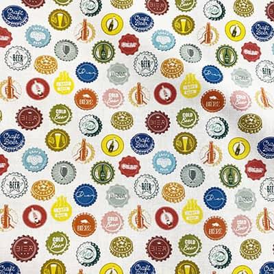 Tissu coton imprimé capsules bières