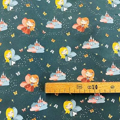 Tissu coton imprimé princesse canard mètre