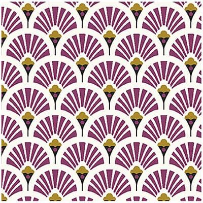 Tissu coton imprimé éventails prune
